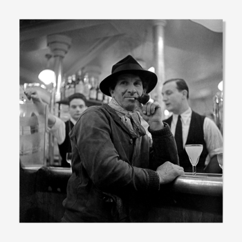"""Photographie """"Le peintre de Montparnasse"""" Paris 1948    /   N&B   /  15 x 15 cm"""