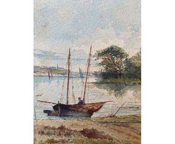 """Aquarelle """"Marine animée avec bateau"""" signée A. Descormiers XIX° Bretagne"""