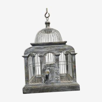 Cage à oiseaux en fer et bois