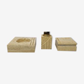 Trio de fumeur in Travertine conçu par Enzo Mari pour F.lli Mannelli