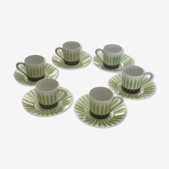 Service porcelaine café vintage, Haviland Limoges, décor herbe stylisée