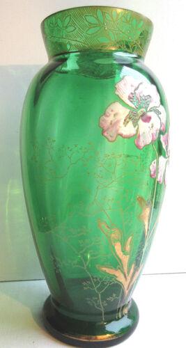Vase art nouveau verre vert émaillé Legra les anémones mauves et blanches