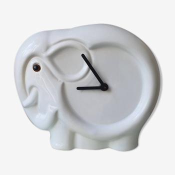 Horloge vintage en céramique en forme d'éléphant 1980