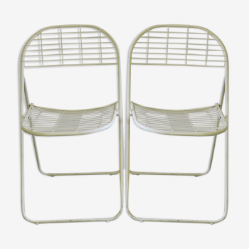 Pair of metal folding chairs