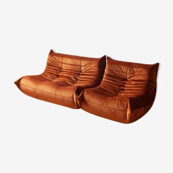 """Canapé 2 places et fauteuil """"Togo"""" modèle dessiné par Michel Ducaroy 1973"""