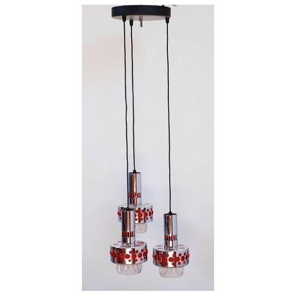 Grand lustre seventies 3 lampes suspendues