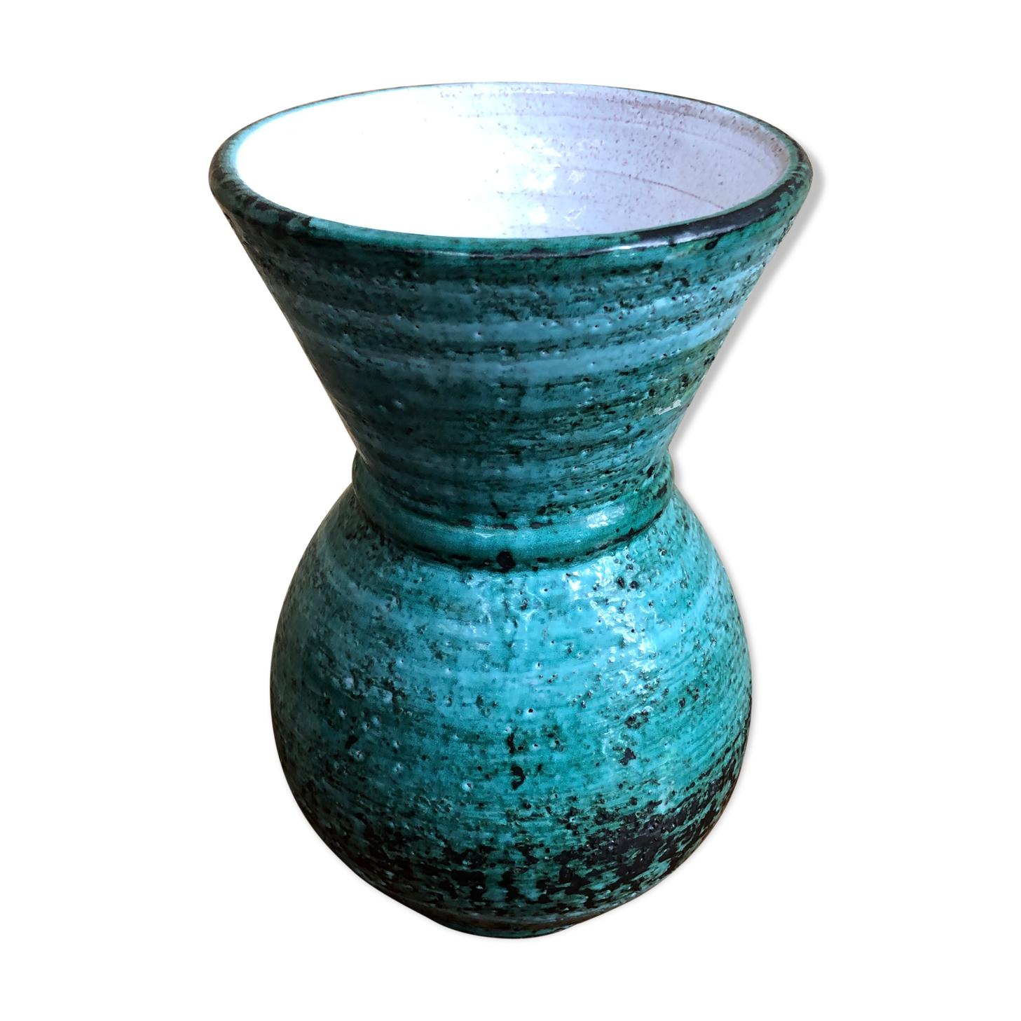 Ancien vase céramique verte intérieur blanc années 70 décoration vintage