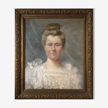 """Tableau XIX° portrait de famille """" élegante à la robe blanche"""" + cadre"""