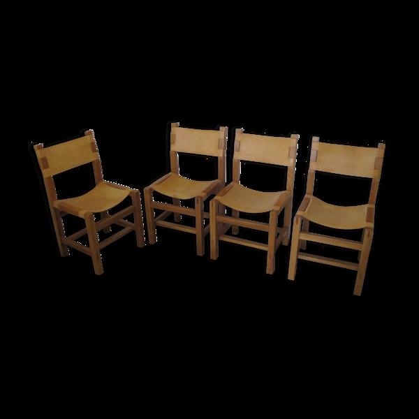 4 chaises en orme massif et cuir de la maison Regain, 1980