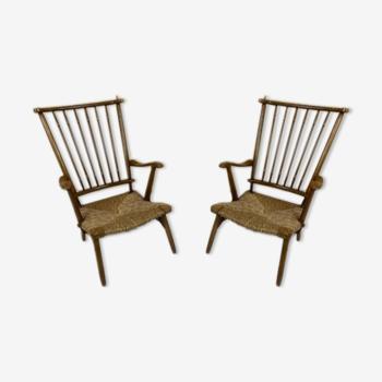 Paire de chaises longues vintage en hêtre Ster Gelderland 50s