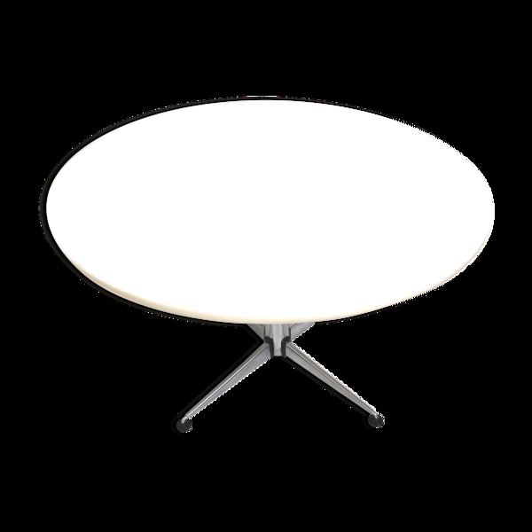 Table à manger blanche vintage ronde de Brabantia fabriquée dans les années 70