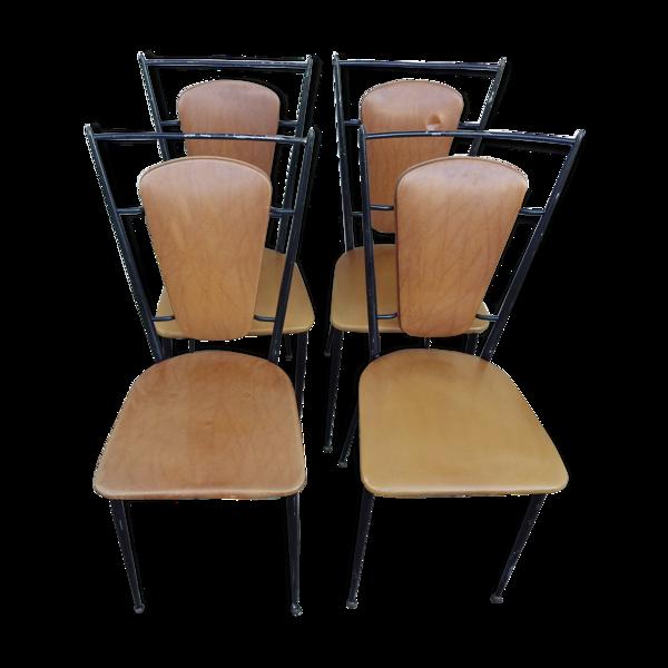 Lot de 4 chaises vintage en skaï marron