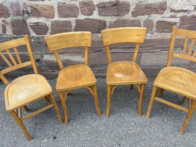 Lot 4 chaises bistrot dépareillé bois courbé brasserie