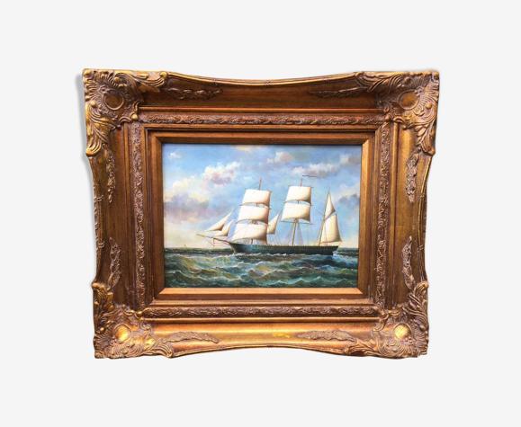 Tableau marine huile sur bois
