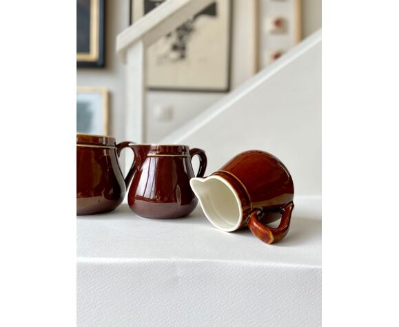 Set de 3 pichets en céramique marron