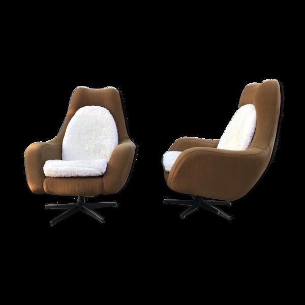 Pair of Eastern bloc swivel chairs, Czechoslovakia, 1970´s
