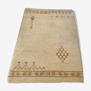 Tapis berbère marocain écru laine authentique 230x175cm