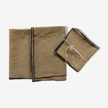 Nappe et serviettes camel en lin upcyclé