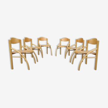 Série de 6 chaises arc design années 80