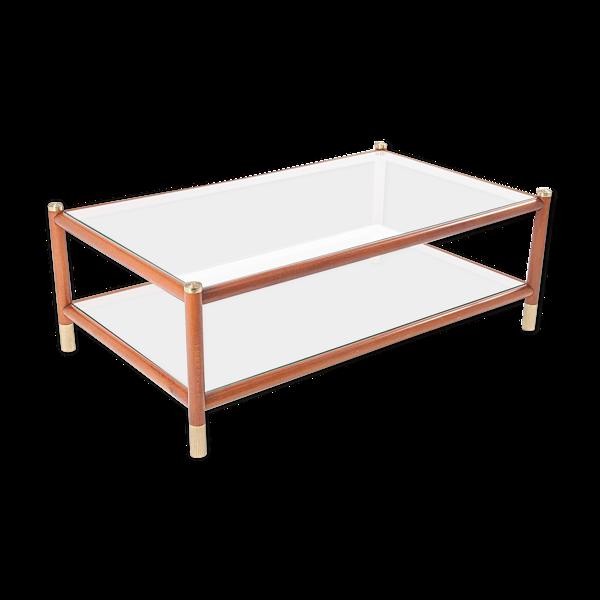 Selency Table basse Maison Lancel en bois laiton et verre
