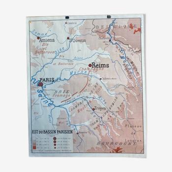 Affiche géographique - est du bassin parisien - la loire moyenne - rossignol