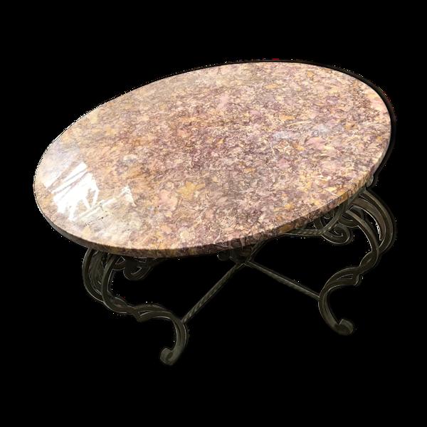 Table basse en marbre et fer forgé