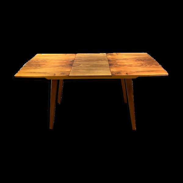 Selency Table extensible placage miel de noix vintage 60