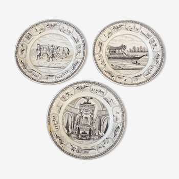 Lot de 3 assiettes de la faïencerie de Gien série Napoléon Bonaparte