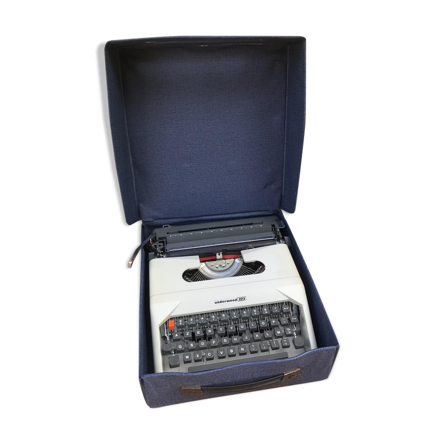 Ancienne machine à écrire Underwood 223 bakélite gris beige avec malle bleue vintage