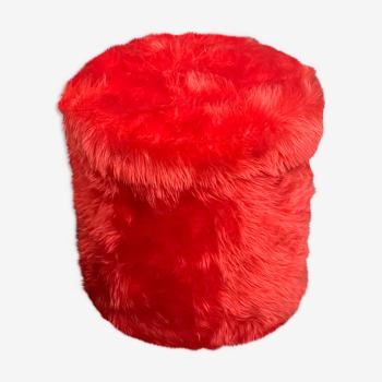 Pouf moumoute rouge vintage