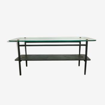 Table basse vintage verre, bois, métal