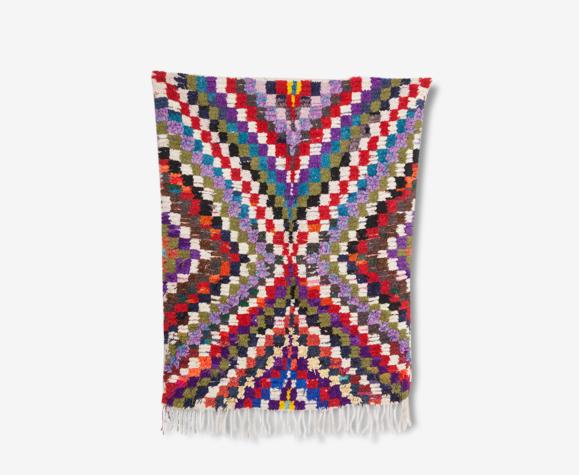 Tapis Boucherouite marocain Vintage, 202x132