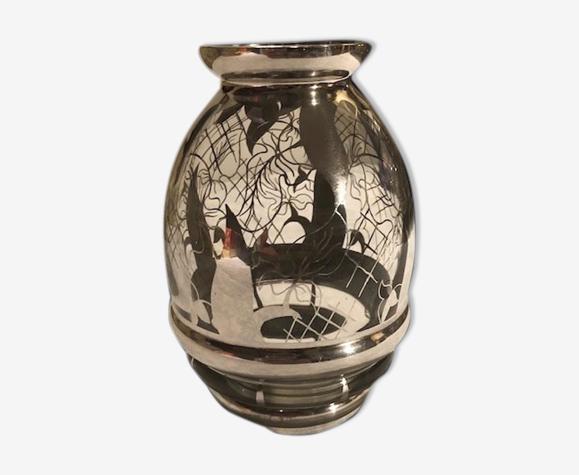 Vase cristal decor argent