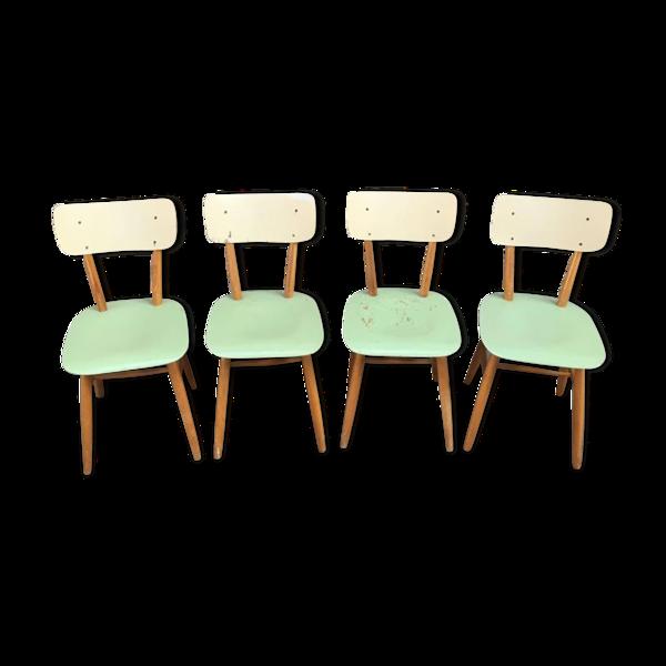 Suite de 4 chaises vintage de Ton