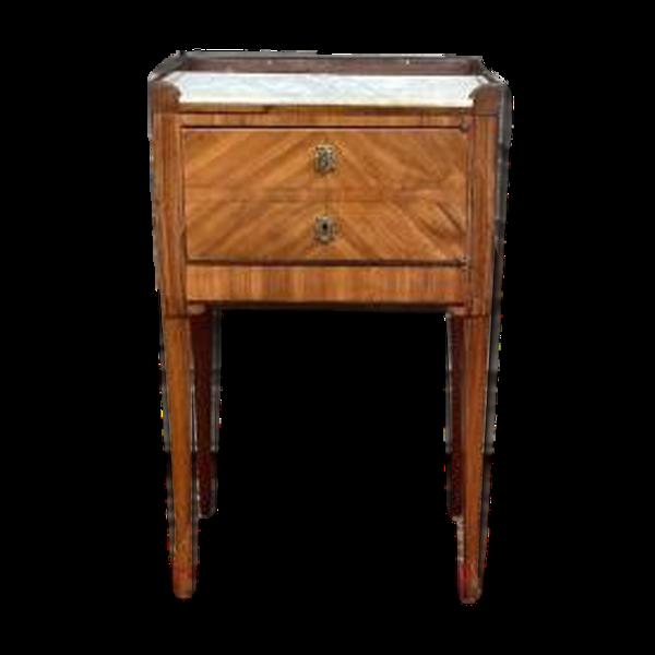 Selency Table de chevet en marqueterie d'époque Louis XVI