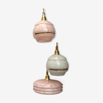 Suspension cascade trois feux, globes vintage
