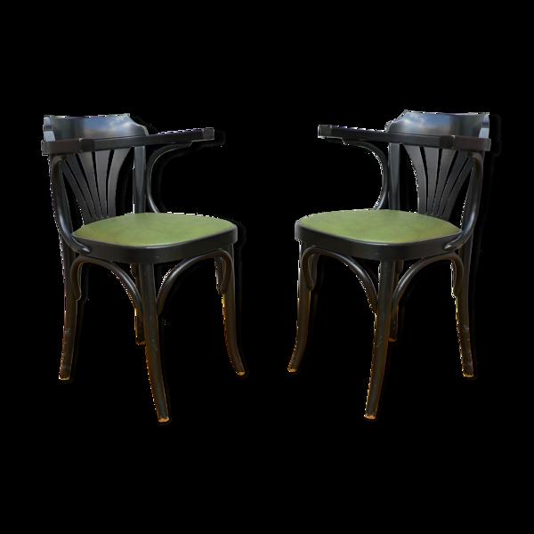 Paire de fauteuils type bistrot skai