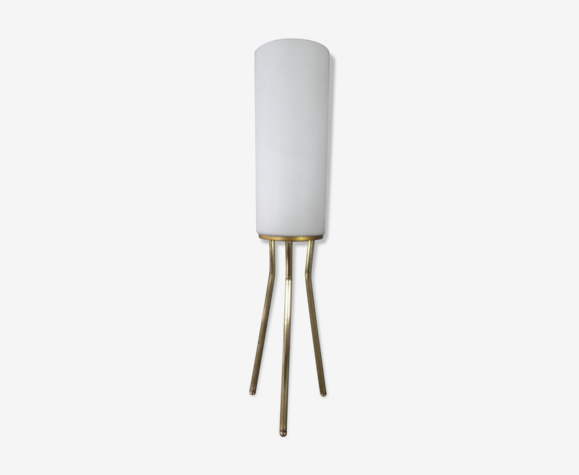 Lampe tripode en laiton avec sa tulipe opaline