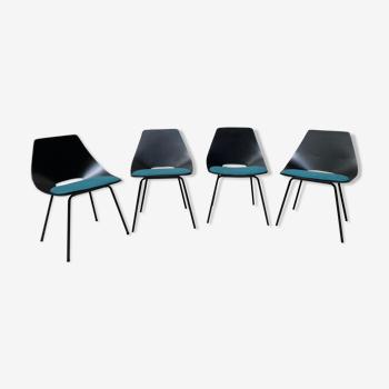 """Série de 4 chaise """"Tonneau"""" de Pierre Guariche pour Steiner"""