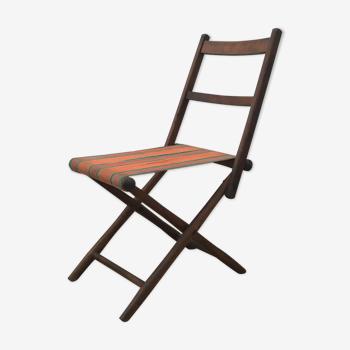 Chaise pliante ancienne en bois et tissu