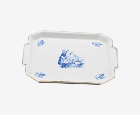 Plat céramique gardienne d'oie vintage