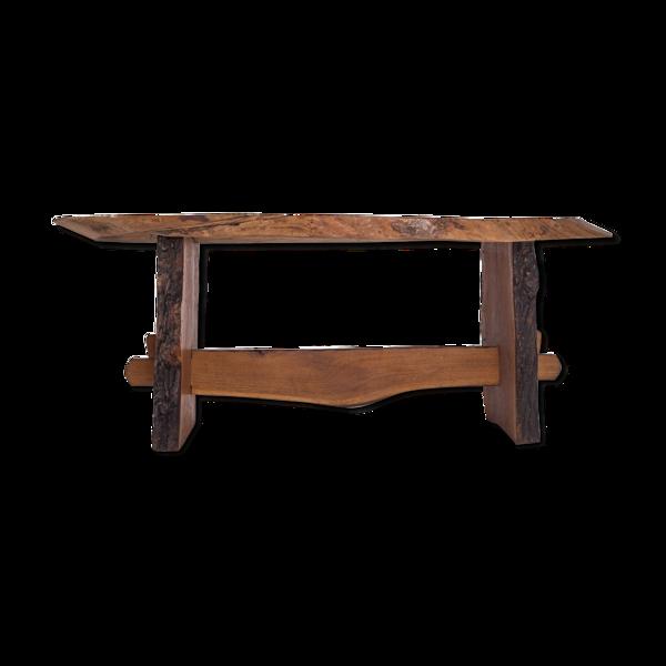 Table à manger style wabi wabi en bois rouge américain années 1960