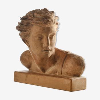 Buste de Jean Mermoz en terre cuite signé Alexandre Kéléty