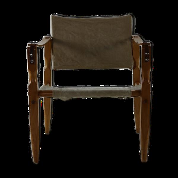 Fauteuil safari de conception danoise avec accoudoirs en bois