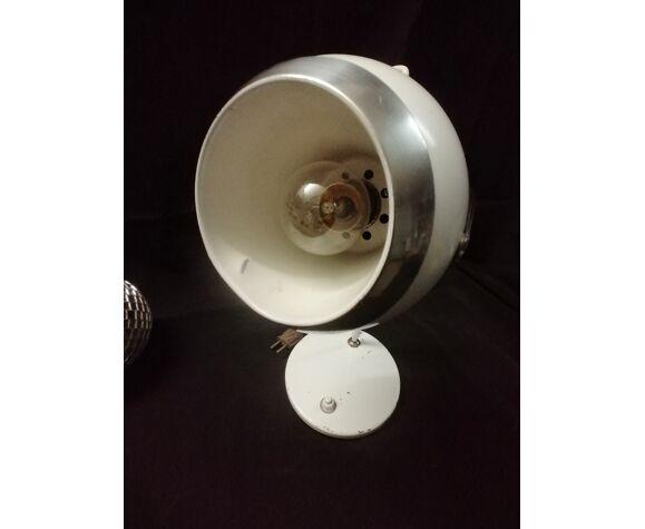 Lampe de bureau monteuse, eye ball blanche, space age, années 70