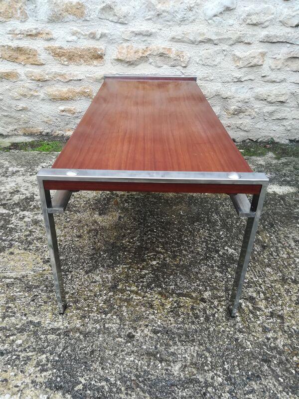 Table basse en chrome et teck