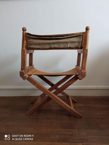 Fauteuil safari ancien bois et cuir