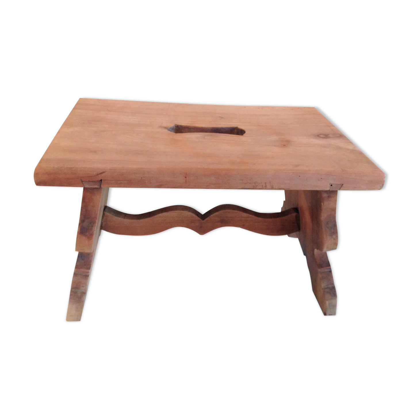 Tabouret marche pied en bois brut vintage années 50-60