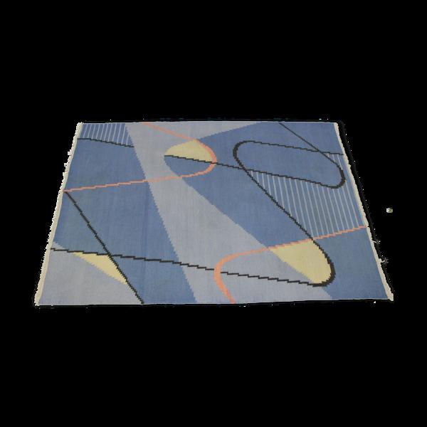 Tapis kilim mid-century moderniste geometrique par Antonín Kybal 175x265cm