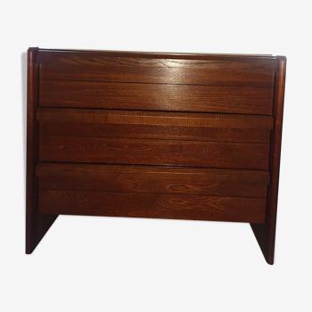 Commode en bois ligne brutaliste 3 tiroirs